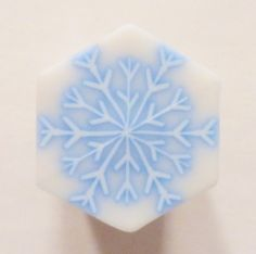 LARGE Icey Blue Outlined Snowflake Hexagon Polymer by ClaybyKerm, $10.00