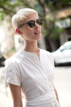 pixie cut + ray bans | portrait by melissa sung