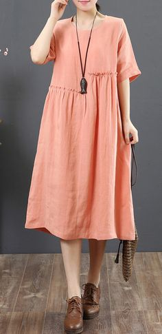44356b332a1 Elegant pink linen clothes top quality Outfits o neck wrinkled short Summer  Dress
