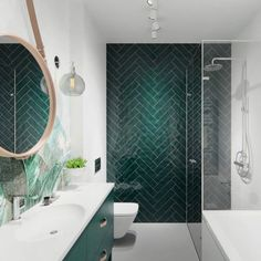 41 Rustic Bathroom Tile Pattern Ideas - Always despaired over the lack of dazzling and delightful bathroom tile patterns Well, it s time to let some brilliant ideas dispel that air of gloom. Rustic Bathrooms, Dream Bathrooms, Amazing Bathrooms, Bad Inspiration, Bathroom Inspiration, White Bathroom, Small Bathroom, Green Bathroom Tiles, Bathroom Mirrors