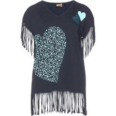 Aprico Dark-Blue / Mint Plus Size Cotton top with fringes ($71) ❤ liked on Polyvore featuring tops, t-shirts, plus size, women plus size tops, cotton tee, retro t shirts, summer t shirts and plus size t shirts