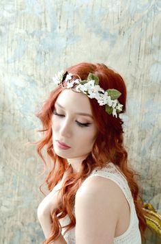 Bridal flower crown leaf wreath woodland by gardensofwhimsy