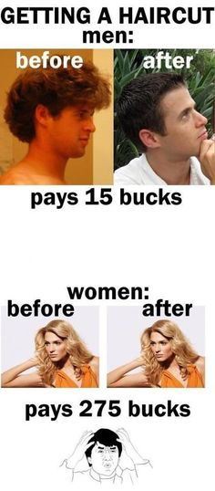Humor about haircuts for men vs women Funny Cartoons, Funny Jokes, Hilarious, It's Funny, Crazy Funny, Super Funny, Daily Funny, Funny Sayings, Funny Stuff