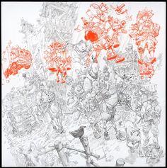 illustration originale, promeneurs et leurs âmes flottant au-dessus d'eux - Kim Jung Gi