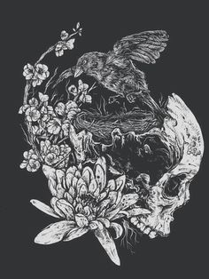 skull with rose | Tumblr