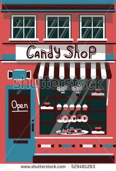 Vector modern sweet  shop detailed facade background in flat style, with big candy sticker #vector #illustration #flat #design #art #shop #store #cafe #cartoon #shutterstoke #creativemarket