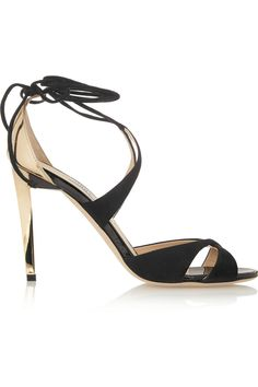 Jimmy Choo | Teira metallic leather and suede sandals | NET-A-PORTER.COM