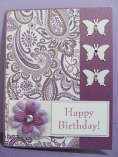 """Love It! I just bought the purple paisley paper for my new journal, gorgeous paper. """"Savvy Handmade Cards: Butterfly Happy Birthday Card"""""""