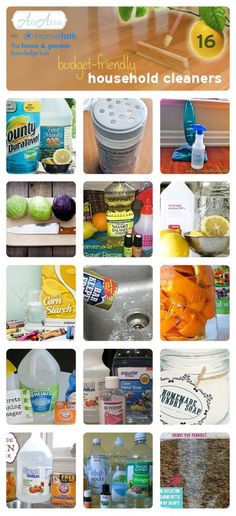 16 budget-friendly homemade cleaners. CLICK ON PIC OR WEBSITE LIINK AT TOP~