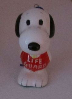 Snoopy Vintage Ceramic Christmas Ornament RARE Life Guard