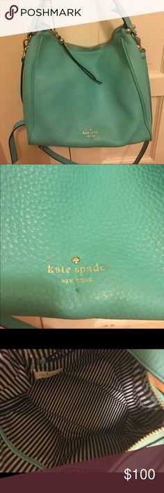 Tiffany Blue Kate Spade bag Gently used crossbody and shoulder bag. Medium size, dimensions: 11 L x 10 H kate spade Bags Crossbody Bags