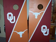 Oklahoma and Texas mixed rivalry cornhole boards set. All paint, no vinyl decals, no stickers, tailgating, sooners, longhorns, bag toss.