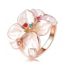 Piccolo Fiore - Enamel Flower with Swarovski Crystals Rose Gold Cocktail Ring