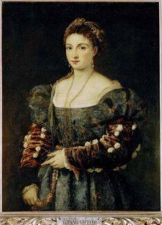 RENAISSANCE PAINTING 16TH   Titian(Tiziano Vecelli)  La Bella Canvas,89 x 75 cm Inv.18   Palazzo Pitti,Galleria Palatina, Florence, Italy