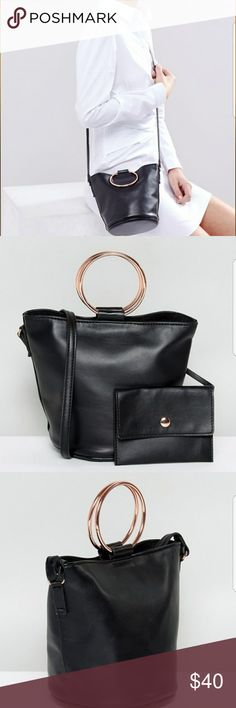 """ASOS Cross Body Bag with Ring Handle Detail NEW WITH TAGS Faux-leather outer Fully lined Adjustable body strap Open top with magnetic fastening Ring handle detailing 100% Polyurethane H: 17cm/ 7"""" W: 22cm/ 9"""" D: 14cm/ 6"""" ASOS Bags"""