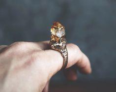 PHOENIX/ Raw Citrine Ring, Raw Citrine Statement Ring, Raw Crystal Scepter Ring, Citrine Crystal Ring, Size 7.5