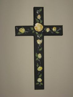 Hand Painted Pine Wood Cross with Yellow by CalligraphicArtisan, $9.90