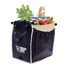 Carry the equivalent of four plastic supermarket shopping bags in this single bag from General Supply. This bag features reinforced handles for easy carrying, and its outer pocket holds coupons, ID, o
