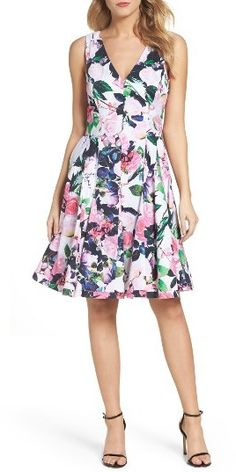 Women's Betsey Johnson Floral Fit & Flare Dress