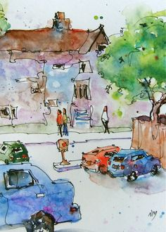 from the other side- watercolour by Nora MacPhail