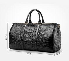 Crocodile leather travel weekender overnight duffel bag for sale. Leather Duffle Bag, Leather Briefcase, Duffel Bag, Weekender, Backpack Bags, Messenger Bags, Mens Overnight Bag, Mens Travel Bag, Leather Card Wallet