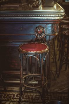 "thepictorialist: ""Pedestal of memories—Le Valois, Paris, France 2016 "" Pub Interior, Vintage Cafe, French Vintage, Furniture Makeover, Diy Furniture, House Furniture, Cafe Bench, Old Pub, French Cafe"