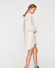 Image 4 of OVERSIZED TEXTURED SWEATER from Zara Jersey Oversize, Pullover, Knitwear, White Dress, Zara, High Neck Dress, Sweaters, Image, Collection