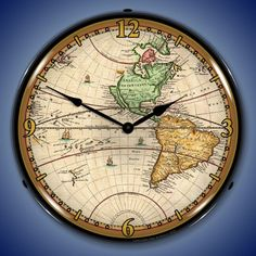 This very cool vintage style 1730 World Map Lighted Wall Clock features a clear scratch resistant front cover made from high quality optical Lexan and is lighted by a 22 watt fluorescent circuline bulb with an on/off switch.  The clock is absolutely beautiful when lit and will make a wonderful addition to your home or office.