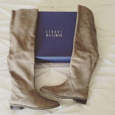 Stuart Weitzman Rocker Chic Boots Taupe colored suede. Pull-on, slouchy boots. Worn twice. Size 8. Stuart Weitzman Shoes Over the Knee Boots