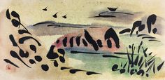 Flying Geese Chinese painting Japanese by AuspiciousInk on Etsy