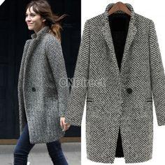 Women s Lapel Wool Cashmere Long Winter Parka Coat Trench Outwear Jacket  Suit Blouson 43fd0f4df988c