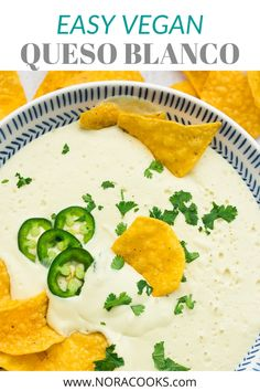 Cheesy, spicy and perfectly creamy, Vegan Queso Blanco will rock your world! Serve with chips, tacos, burritos and more. #vegan #plantbased Vegan Cheese Recipes, Delicious Vegan Recipes, Cooking Recipes, Healthy Recipes, Healthy Food, Yummy Food, Mexican Food Recipes, Italian Recipes, Vegan Queso