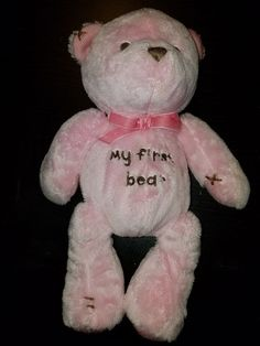 Carters My First Bear Pink Plush Brown Stitching Baby Rattle Stuffed Teddy 1st #Carters