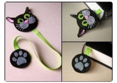 Felt cat bookmark, black cat bookmark offer is valid for 1 . - Felt Cat Bookmark, Black Cat Bookmark Offer is for 1 bookmark Handmade from felt-wool blend and woo - Cat Crafts, Sewing Crafts, Fabric Crafts, Sewing Ideas, Felt Bookmark, Bookmark Craft, Cat Keychain, Diy Bookmarks, Free Printable Bookmarks
