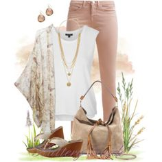 Rose jeans, white top, floral cardigan, gold accessories
