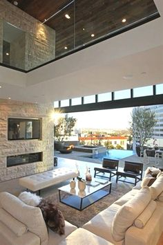 indoor/outdoor living space - only in a design-it-yourself home Dream Home Design, Modern House Design, Home Interior Design, Interior Architecture, Beautiful Architecture, Interior Ideas, Interior Designing, Luxury Homes Interior, Modern Family Rooms
