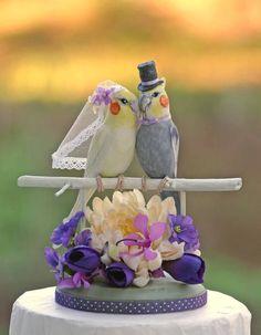 Cockatiel Love Birds Shades of Purple Wedding Cake Topper