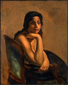 'frau in eine Sessel', öl von André Derain (1880-1954, France)