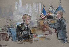 A courtroom sketch depicts Private First Class Bradley Manning, 25, (L) and his attorney David Coombs during the first day of Mannings trial at Fort Meade in Maryland, June 3, 2013