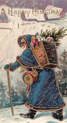Vintage Christmas card, blue Santa or Belsnickle