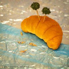 . 10.12 fri -Croissant Island- . クロワッサン島へようこそ。 . 【本日の記念日】 パンの日(毎月12日)、コロンブスデー、新大陸発見記念日(アメリカ)、etc… #tanacalendar .