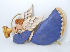 Hand Carved Wooden Angel Christmas Ornament by TrueWoodcarvings,