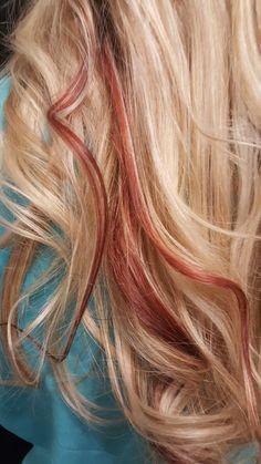 Pop of color, fire cracker red & blonde