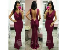 3b3d8187b6f5 Vínové spoločenské šaty s odhaleným chrbtom - Mia Dresses