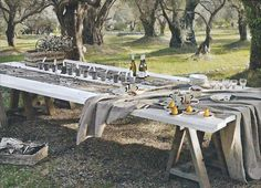 Like the idea of using  saw horses for table legs.