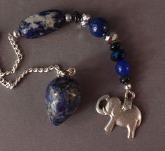 Sodalite and Lucky Elephant Gemstone New Age by PendulumShop, $20.00