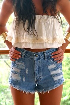 high-waisted shorts and crop tops