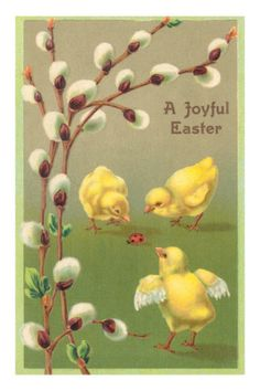 size: Art Print: A Joyful Easter, Chicks and Pussy Willows : Artists Easter Greeting Cards, Vintage Greeting Cards, Vintage Postcards, Easter Messages, Poster Vintage, Easter Art, Easter Crafts, Easter Decor, Easter Ideas