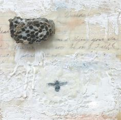 "Original Encaustic Painting, Mixed Media Art - ""Nest""  Encaustic Art with real Bee Hive, Nature Art by Angela Petsis"