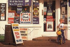 Australian milk bar - I'm imagining the clutter of brands gone, replaced by strokes colour for a modern, fun twist of the 60s + 70s.